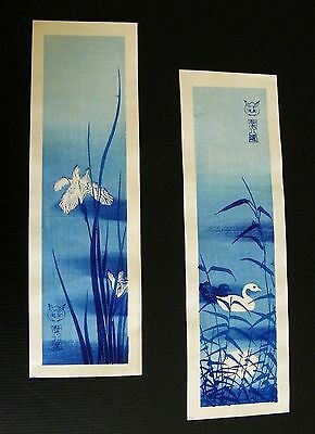 Early 20th Cent. 2 JAPANESE WOODBLOCK PRINTS Birds & Iris signed unknown artist