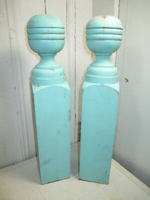 "Pair of Vintage Newel Post Tops - 18""H x 3 1/2"" x 3 1/2"" - Wonderful Blue Color"