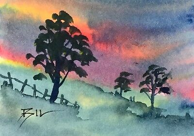 ACEO Original Art Watercolour Painting by Bill Lupton - Sunset Hill