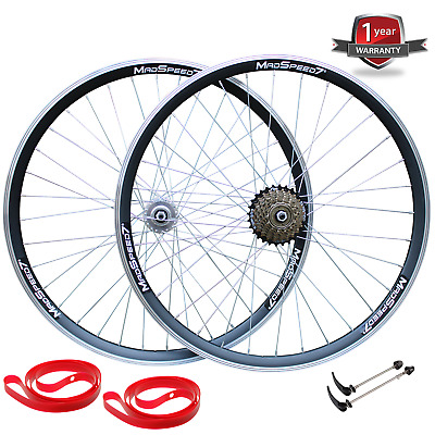 QR 700c Road Racing Bike Front Rear Wheel Set 6/7/8 Speed Shimano Freewheel