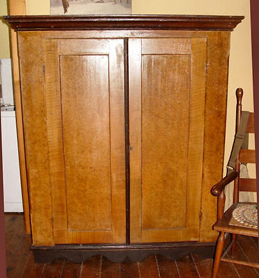 Mid 19th century, early painted pine double wardrobe floating panels dovetailed