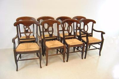 Eight Italian Napolean Pottery Barn Dining Chairs Elm Wood And Rush