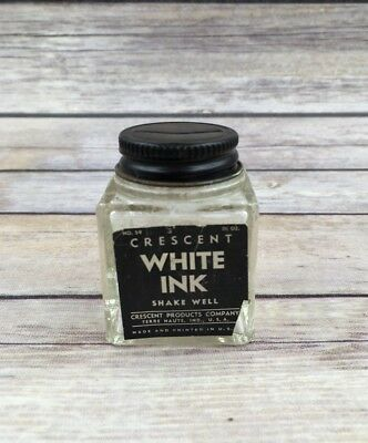 Vintage Crescent White Ink Bottle USA Advertising Label