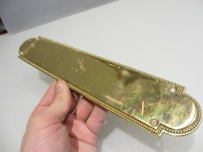 Vintage Brass Finger Plate Push Door Handle Antique STYLE Beading Old 1970's