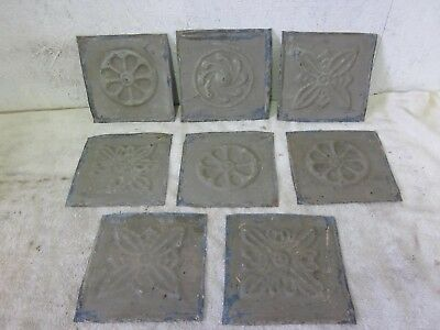 """8  Antique 6 """" x 6 """" Detailed Salvaged  Victorian Tin Ceiling Tiles"""