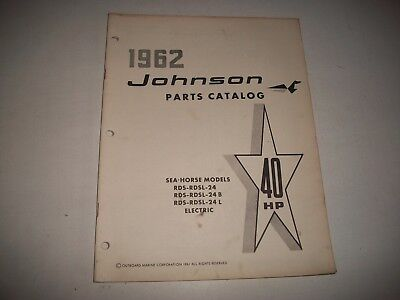 1962 Johnson Rds Rdsl 24 24B 24L Electric Sea-Horse 40 Hp Outboard Parts List
