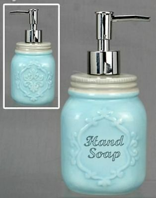 New French Country Shabby Farmhouse Chic BLUE SOAP DISPENSER Mason Jar Pump