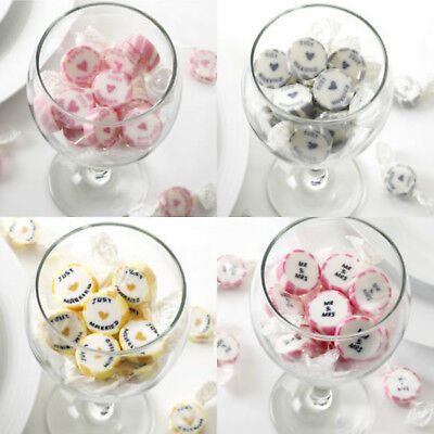 Rock Just Married Candy Wedding Favours Mr & Mrs Sweeties Pink Gold Silver