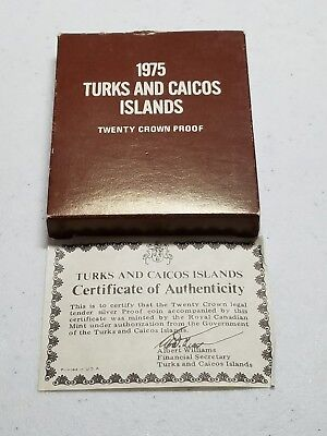 1975 Turks and Caicos Islands Twenty Crown Proof Coin
