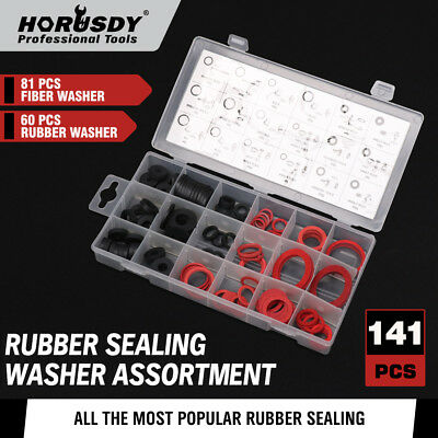 Rubber Faucet Washer Seal Assortment 141pc Water Sealer Fiber O Ring Sink