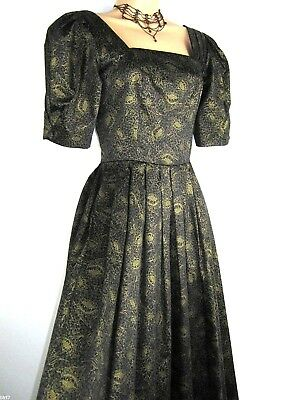 Laura Ashley Vintage Floral Gold Sparkle Evening / Festive / Party Dress, 8/10