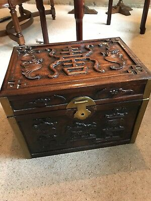 Beautiful Carved Wooden Box/Trunk, Solid Wood Brass Fittings