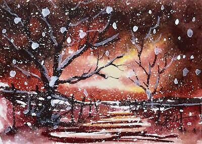 ACEO Original Art Watercolour Painting by Bill Lupton - Snowing Again