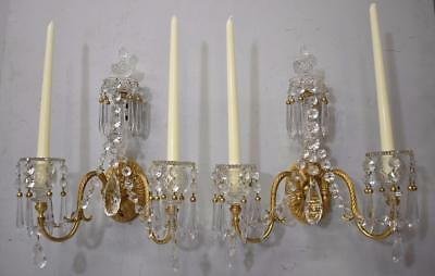Pair French Style Two Arm Cast Bronze Gold Dore & Cut Crystal Wall Candleholders