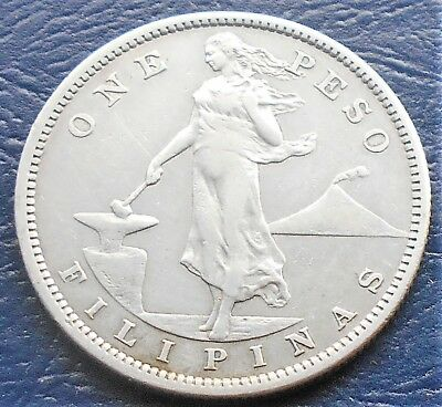 Silver 1907 S Philippines Peso KM#172 Lady Mt. Mayon Volcano Nice Grade # 704