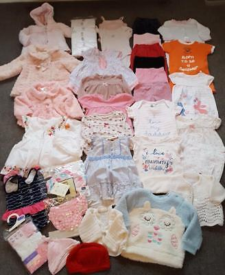 Baby Girls Large Mixed Bundle Of Clothes , 0-3 Months