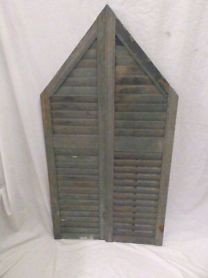 Antique Angled Shutter Window Gothic Peak Arch Top Shabby Vtg Chic 52x14 542-17P