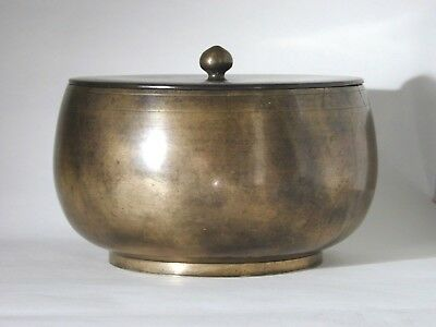 Large Antique Korean Joseon Dynasty Bronze Bowl And Cover