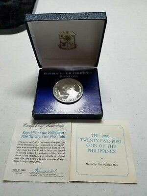 Republic of the Philippines 1980 Twenty-Five-Piso Silver Coin Franklin Mint
