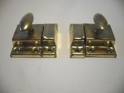 2 Vtg BRASS Plated Cupboard Cabinet Door Catch Thumb Latches Spring Knob Stanley