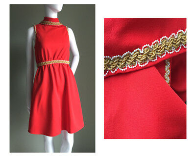 VINTAGE 60s Red Gold Brocade Mini DRESS - CHRISTMAS Mod VTG Cute - 8