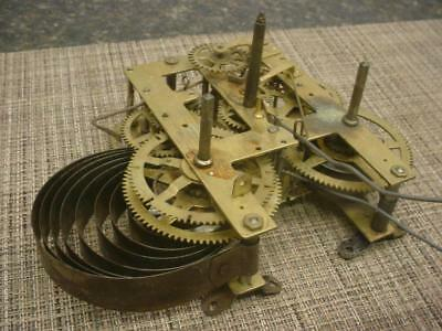 Unsigned Mantle / Wall Clock Brass Movement  Parts or repair work E1022