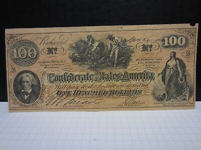Confederate one hundred dollar bill (Probably a Reproduction)