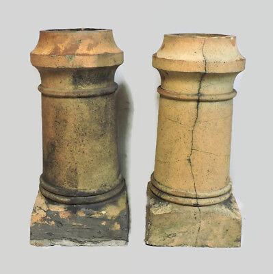Lot Of 2 Antique Matching Chimney Pots Architectural Salvage Garden Landscaping