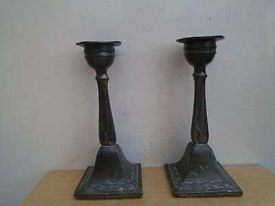 pair of antique short candlesticks   possibly art nouveau & pewter  TAKE A LOOK