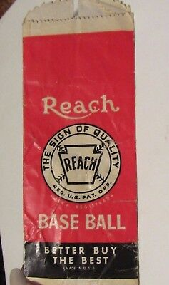 Vintage paper baggie from a REACH BASEBALL
