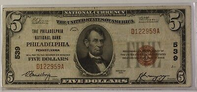 1929 Type 1 $5 National Currency Banknote Philadelphia, PA Charter # 539