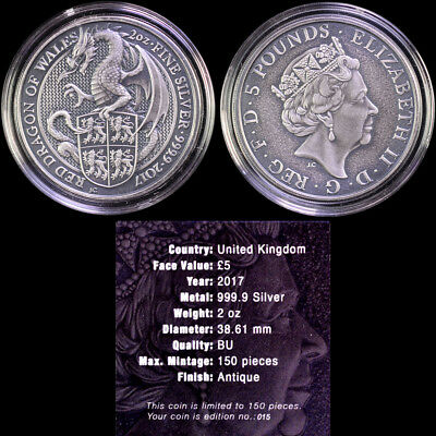 ANTIQUE DRAGON - QUEEN'S BEAST - 2017 2 oz Pure Silver Coin - MINTAGE 150