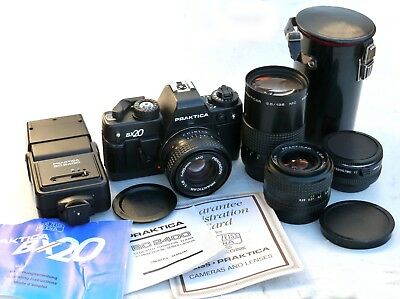 PRAKTICA BX2 35mm SLR Camera MINT cond w 4 LENSES, Flash, Manuals, Case etc