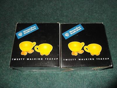 Warner Brothers Store 2 Sets of Tweety Bird Walking Tea Cups