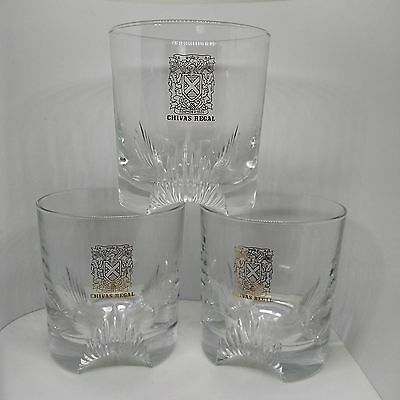 3 Chivas Regal Founded 1801 Gold Shield Rock Glasses, Three-footed Cutaway Base