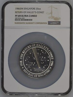 1986 Singapore Haley's Comet 5Oz Silver Highest Graded Ngc Proof 68 Ultra Cameo