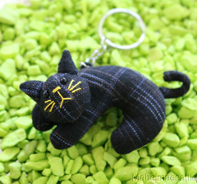New Handcrafted Soft Sculpture Cloth Black Cat Kitten KEYCHAIN Key Ring