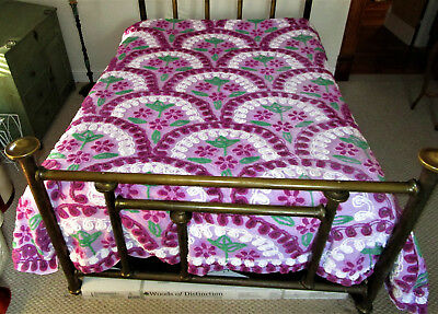 Vintage Chenille Purple, Lavender,green, White Floral Bedspread, Lovely! 96X86