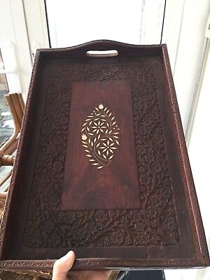 Vintage highly detailed (floral carved and inlaid bone) wooden serving tray