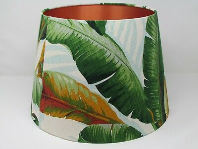 NEW Empire Tapered Botanical Banana Leaf Fern Copper Lined Lampshade Lightshade