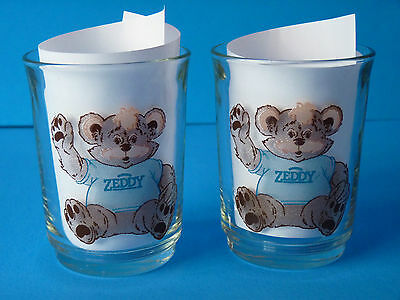 Zellers Zeddy Teddy Bear Mascot Collectible Set of 2 Drinking Glasses -RARE-