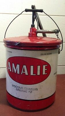 Vintage 1963 Amalie No.2 Grease Can ~ 35 lb. Can with Pumper