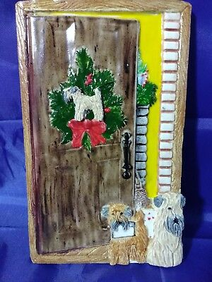 Two Soft Coated Wheaten Terrier Dogs Greeting at Door Ceramic Christmas Plaque