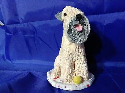 Soft Coated Wheaten Terrier  Dog Ceramic Figurine Sculpture Artist Signed OOAK