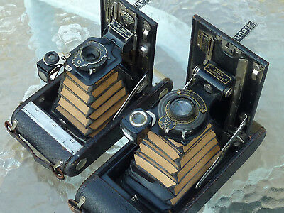A lot of 2 vintage Kodak Autographic Folding Cameras No.1 and 1A
