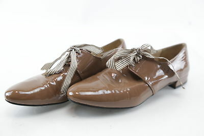 Prada Brown Patent Leather Oxford Shoes w/ Brown Grosgrain Laces Size 8.5 Italy