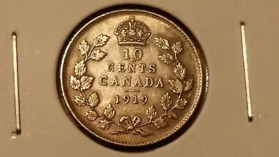 1919 10C CANADA SILVER 10 CENTS - XF / AU - .925 Sterling - Low Mintage - RARE