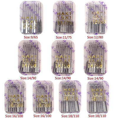 20pcs Threading Domestic Sewing Machine Needles 75/11 80/12 90/14 100/16 110/18