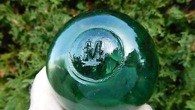 Vintage Norwegian Genuine Teal Green Glass Float   M   Marked Seal Button
