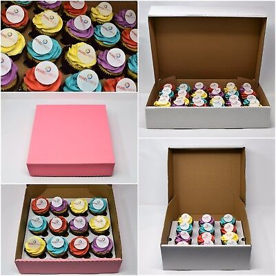 Heavy Duty Corrugated Cupcake Boxes 4 6 9 12 & 24 White Pink Cardboard Trays